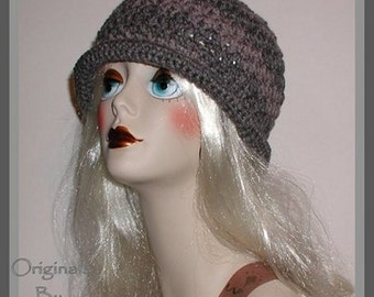 Shades Of Gray Hat For Women Rolled Brim Charcoal Flapper Large Grey