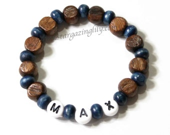 Masculine Boys Wood beaded personalized name bracelet. Party Favor Stocking Stuffer or Valentine for Boys. Hypoallergenic