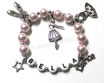 Gift for a dancer. Dance themed bracelet. Dance Charm Bracelet. Dance Recital Gift. Pearl Bracelet. YOU CHOOSE the pearl color. Multi Charm