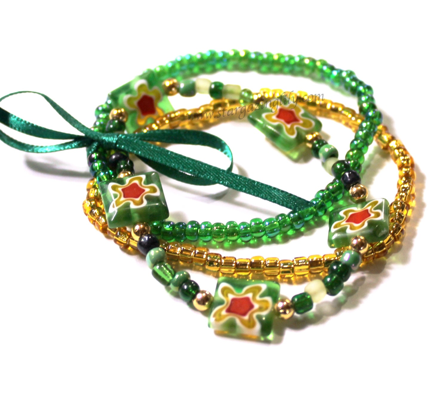 St patrick 39 s day jewelry green milliefiori beads with for Same day jewelry repair