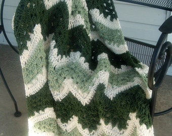 Hand Crocheted Afghan Throw Lap Blanket Green and Cream  Lacey Ripples