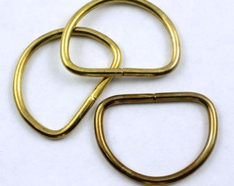 32mm Raw Brass D-Ring (4 Pcs) #280