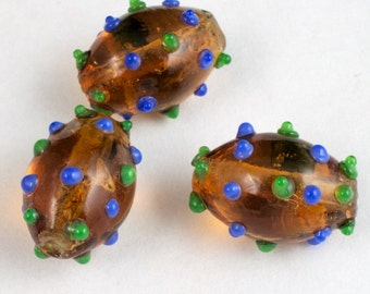 14mm Dark Topaz Oval Lampwork Bead with Green and Blue Dots #LCO007