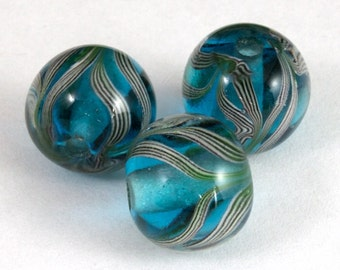 12mm Transparent Aqua/Grey Swirl Bead (2 Pcs) #LCH012