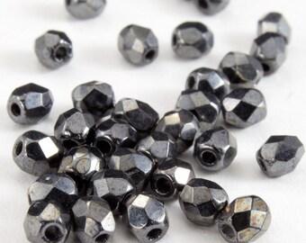 3mm Metallic Gunmetal Fire Polished Bead (50 Pcs)  #GBA011