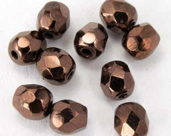 4mm Antique Bronze Fire Polished Bead (25 Pcs)  #GBB067