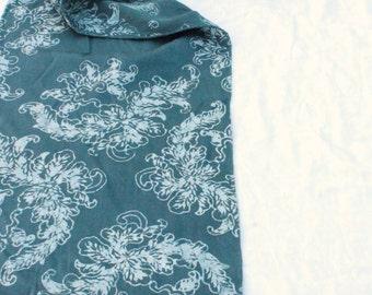 slate blue silk scarf batik scrolls pattern