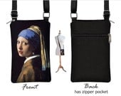 iPhone 6 / Plus Case Mini Crossbody Bag, Girl with Pearl Earring Cell Phone Holder,  Small Cross Body Handbag, black blue fabric  RTS