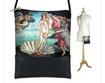 Small Cross Body Bag, Botticelli Venus Shoulder Purse, Vegan Black Leather Bag,  Mini Crossbody Art Bag, blue pink RTS