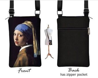 iPhone 6 / Plus Case Mini Crossbody Bag, Girl with Pearl Earring Cell Phone Holder,  Small Cross Body Handbag, black blue fabric  RTS