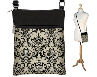 CLEARANCE Small Crossbody Bag Cross Body Purse Sling Purse Shoulder Bag Zipper Closure Damask Black Vintage Appeal RTS