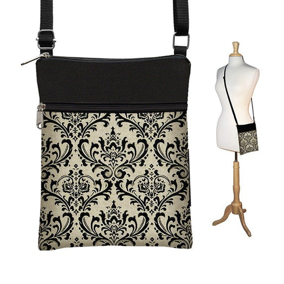 CLEARANCE Small Crossbody Bag Cross Body Purse Sling Purse Shoulder Bag Zipper Closure Damask Black Vintage Appeal RTS
