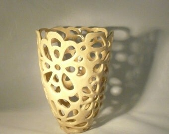 Ivory Lace Ceramic Vase Sculpture, Office Decor Art Object, Wedding Couples Gift, pottery and ceramics Collectible Fine Art - Studio Artwork