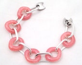 Cotton Candy Pink Glass Chain Bracelet