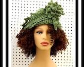 Light Sage Green Crochet Hat Womens Hat, Crochet Cloche Hat with Flower, Crochet Flower, Sage Green Hat, Winter Hat, LAUREN Cloche Hat