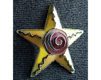 Metal Star Christmas Ornament with Spiral - Steam punk - Rustic - Industrial - Accented with Yellow and Red