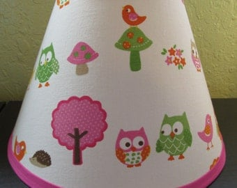 Lamp Shade made w Circo Love N Nature Owl Woodland, Lamp Shade, Any Color Trim, 4 Sizes