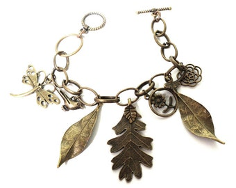 Charm Bracelet in Antiqued Brass , Fall Woodland Bracelet With Bird, Bug and Flower Charms