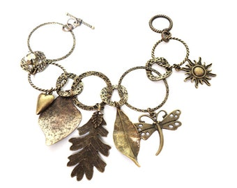 Charm Bracelet , Fall Woodland Bracelet With Antiqued Brass Charms