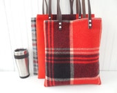 Wool Tote Leather Handles Laptop Tote Red Plaid Purse