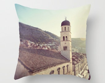 photography pillow cover, travel photography, dubrovnik croatia, europe, architecture, throw pillow, beige home decor