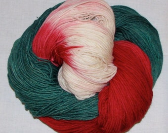 Hand dyed superwash sock yarn CANDY CANE