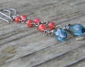 london blue quartz earrings - oxidized sterling silver with little watermelon quartz accents