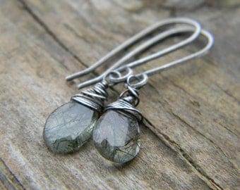 mossy quartz earrings - rustic, oxidized silver
