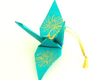 Gold Sunflower on Aqua Origami Crane Ornament
