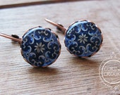 Statement Earrings, Portugal style, Handmade tile, copper lever back hooks, Indigo Blue, Portuguese design tile, Portuguese jewelry