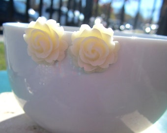 Ivory Rose Clip On Earrings, Under 10, Wedding Earrings,