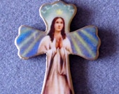 Stella Maris Virgin Mary Handmade Catholic Small Wall Cross Crucifix Wood Resin