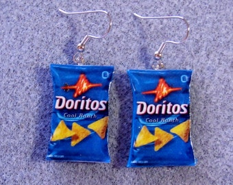 Doritos Cool Ranch Kitsch Dangle Polymer Clay Junk Food Earrings Hypo Allergenic Nickle-Free