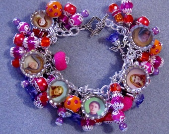Catholic Saints Loaded Charm Bracelet Pink Orange Fuschia Purple & Earrings Set