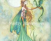 Discipline - Fairy and Dragon Watercolor Illustration - Fine Art Giclee Print by Molly Harrison Fantasy Art