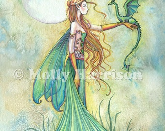 Discipline - Fairy and Dragon Watercolor Illustration - Fine Art Giclee Print by Molly Harrison Fantasy Art - 12 x 18