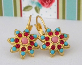 Victorian Floral Swarovski Ruby and Turquoise Gold Leverback Earrings