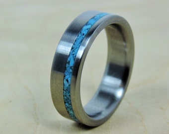 Titanium ring wood ring custom made ring wedding ring for Mens turquoise wedding rings