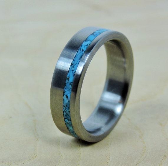 Wedding Ring, Titanium with Turquoise Ring, Titanium Ring, Turquoise Ring, Handmade Ring, Mens Ring, Womens Ring, Custom Made Ring