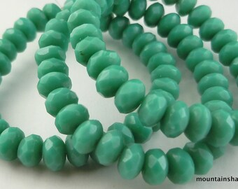 5mm Faceted Rondell Turquoise - Czech Glass Beads (SSP)