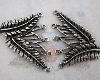 2 pcs. casted 5 strand leaf necklace end findings silver tone finish 40x36mm - f4414