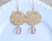 Gold Chandelier with Blush Teardrop. Dangle Earrings. Bridesmaids Earrings.