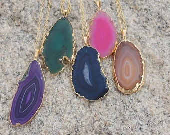 Agate Slice Necklace. Long Gold Chain.