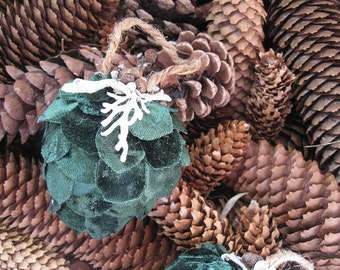 Green VELVET Fabric PINE CONE hanging FoReST ornament
