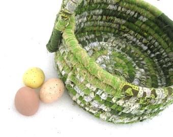 GREEN BEAN   textile art tote EASTER BaSKeT