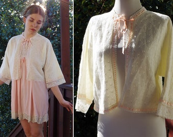 Pretty in PINK 1960's Vintage Cream White Crochet Knit Bed Jacket with Lace Edges and Pink Ribbon // size Medium // by Carole Hochman