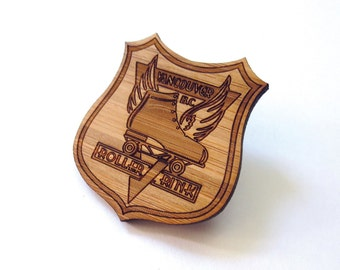 Vancouver Roller Rink Pin - Bamboo - Wood Brooch - Wood Pin - Laser Cut - MOV