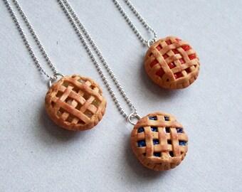 Pie Necklace - polymer clay miniature food jewelry