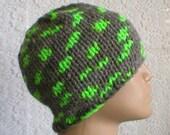 Grey, neon green, beanie hat, skull cap, men's hat, women's hat, biker cap, winter hat, knit hat, ski, snowboard hat, toque, skateboard hat
