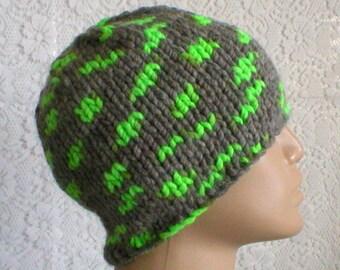 Beanie hat, skull cap, grey neon green hat, winter hat, knit toque, grey beanie hat, ski snowboard, runner hiker, mens womens hat, chemo cap